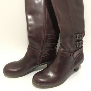 Dr Martens Amber Tall Boots Leather Burgundy 8